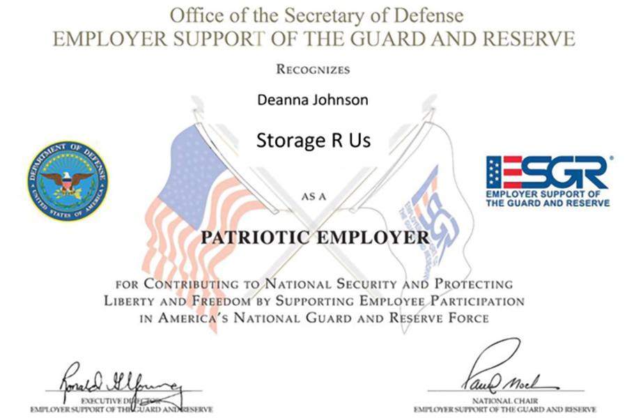 new self storage patriotic employer award